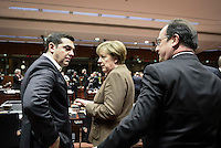 Pictured L-R: Greek Prime Minister Alexis Tsipras, German Chancellor Angela Merkel and French President Francois Hollande Thursday 18 February 2016<br /> Re: David Cameron looks set to secure European Union deal on Britain's reforms during a summit in Brussels, Belgium.