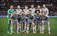 FUSSBALL CHAMPIONS LEAGUE  SAISON 2015/2016 ACHTELFINAL HINSPIEL AS Rom - Real Madrid                 17.02.2016 Mannschftasbild Real Madrid; Torwart Keylor Navas, Sergio Ramos, Toni Kroos, Raphael Varane, Karim Benzema, Cristiano Ronaldo (hinten v.li.) James Rodriguez, Daniel Carvajal, Isco, Marcelo und Luka Modric (vorn v.li.)