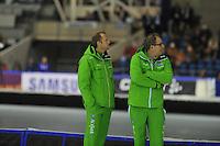 SCHAATSEN: HEERENVEEN: 26-12-2013, IJsstadion Thialf, KNSB Kwalificatie Toernooi (KKT), Sicco Janmaat (trainer/coach Team Activia), Jac Orie (trainer/coach Team Activia), ©foto Martin de Jong