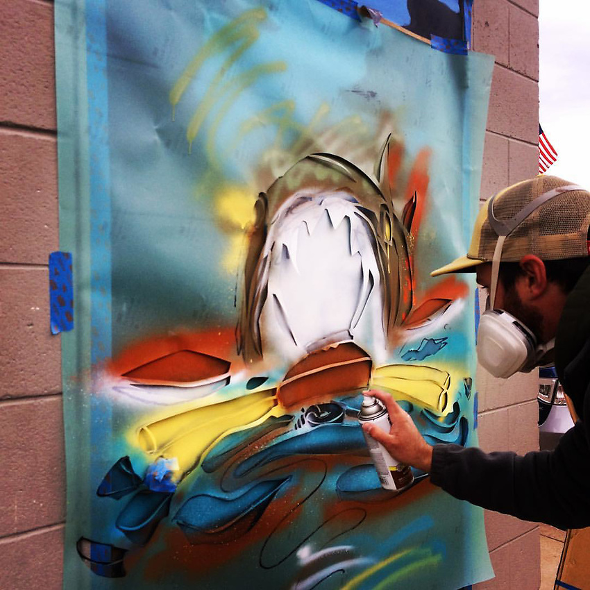 Artist Josh Desmit demonstrates his craft during Fresh Coast Film Festival 2016.