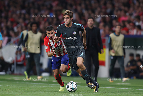 Marcos Alonso (Chelsea), SEPTEMBER 27, 2017 - Football / Soccer : UEFA Champions League Mtchday 2 Group C match between Club Atletico de Madrid 1-2 Chelsea FC at the Estadio Metropolitano in Madrid, Spain. (Photo by Mutsu Kawamori/AFLO) [3604]