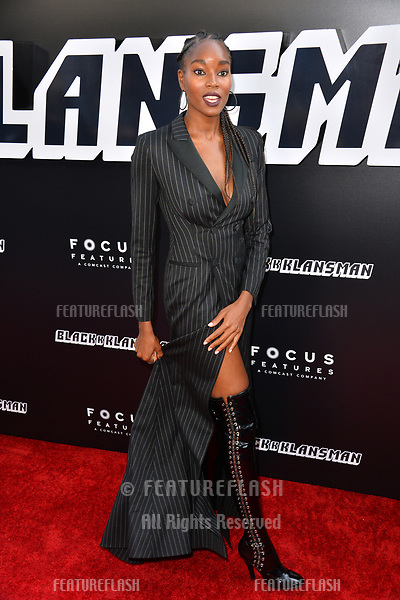 "Damaris Lewis at the Los Angeles premiere of ""BlacKkKlansman"" at the Academy's Samuel Goldwyn Theatre, Beverly Hills, USA 08 Aug. 2018<br /> Picture: Paul Smith/Featureflash/SilverHub 0208 004 5359 sales@silverhubmedia.com"