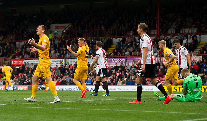 Preston North End players frustrated as Referee Keith Stroud gives a free kick<br /> <br /> Photographer Ashley Western/CameraSport<br /> <br /> The EFL Sky Bet Championship - Brentford v Preston North End - Saturday 17 September 2016 - Griffin Park - London<br /> <br /> World Copyright &copy; 2016 CameraSport. All rights reserved. 43 Linden Ave. Countesthorpe. Leicester. England. LE8 5PG - Tel: +44 (0) 116 277 4147 - admin@camerasport.com - www.camerasport.com