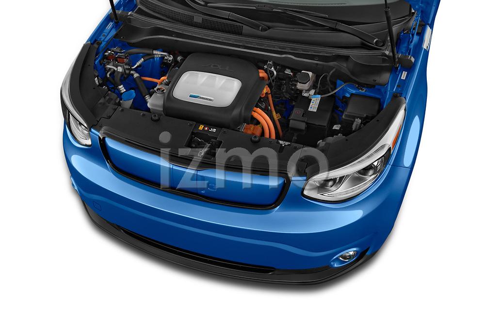 Car stock 2018 KIA Soul EV Base 5 Door Hatchback engine high angle detail view
