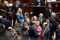 Roma, 18 Aprile 2013.Camera dei Deputati.Votazione del Presidente della Repubblica a camere riunite.Stretta di mano e sorrisi tra PierLuigi Bersani e Angelino Alfano