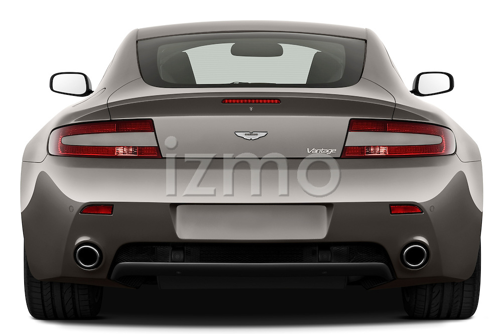 Straight rear view of a 2007 - 2009 Aston Martin Vantage V8 Roadster Coupe.
