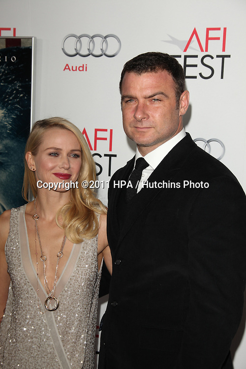 """LOS ANGELES - NOV 3:  Naomi Watts, Liev Schreiber arrives at the AFI FEST 2011 Presented By Audi - """"J. Edgar"""" Opening Night Gala at Grauman's Chinese Theater on November 3, 2011 in Los Angeles, CA"""