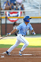 Burlington Royals infielder Colby Schultz (13) at bat during a game against the Kingsport Mets at Burlington Athletic Complex on July 28, 2018 in Burlington, North Carolina. Burlington defeated Kingsport 4-3. (Robert Gurganus/Four Seam Images)
