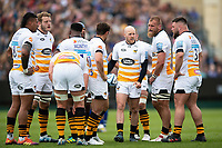 Wasps players huddle together during a break in play. Gallagher Premiership match, between Bath Rugby and Wasps on May 5, 2019 at the Recreation Ground in Bath, England. Photo by: Patrick Khachfe / Onside Images