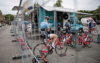 pre-race warm-up on the rollers for Team Astana<br /> <br /> 7th La Course by Tour de France 2020 <br /> 1 day race from Nice to Nice (96km)<br /> <br /> ©kramon