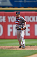 Pawtucket Red Sox shortstop Tzu-Wei Lin (5) throws to first base during an International League game against the Buffalo Bisons on August 25, 2019 at Sahlen Field in Buffalo, New York.  Buffalo defeated Pawtucket 5-4 in 11 innings.  (Mike Janes/Four Seam Images)