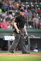 Home plate umpire Reed Basner works a game between the Greenville Drive and Rome Braves on Sunday, August 13, 2017, at Fluor Field at the West End in Greenville, South Carolina. Greenville won, 2-1. (Tom Priddy/Four Seam Images)