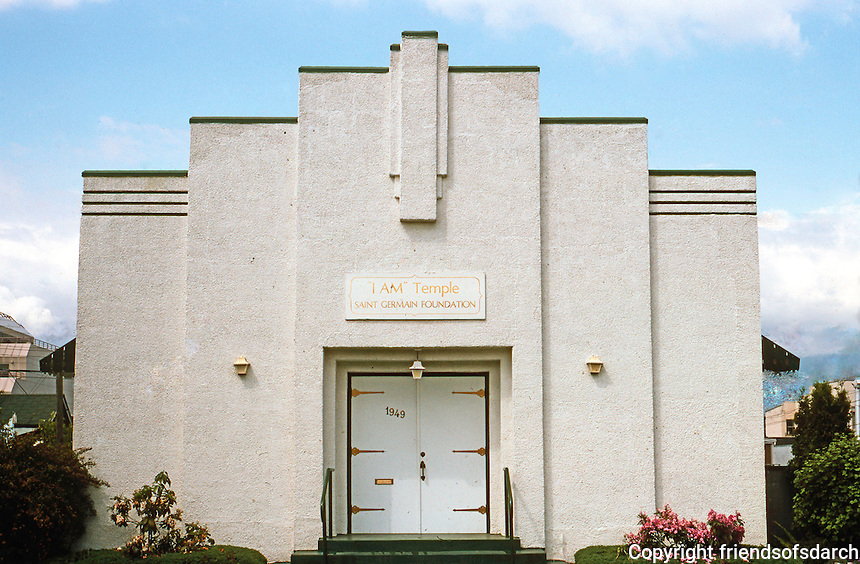 "Vancouver: The ""I AM"" Temple--a streamlined Moderne Church. 1949 10th Ave.  Photo '86."