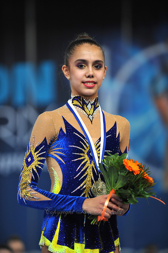 """Rita Mamun of Russia smiles during group """"B"""" awards ceremony at 2011 Holon Grand Prix at Holon, Israel on March 5, 2011.  (Photo by Tom Theobald)."""