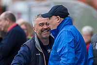 Cheltenham Town caretaker manager Russell Milton greets Grimsby manager Russell Slade during the Sky Bet League 2 match between Cheltenham Town and Grimsby Town at the The LCI Rail Stadium,  Cheltenham, England on 17 April 2017. Photo by PRiME Media Images / Mark Hawkins.