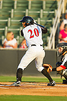Jacob May (20) of the Kannapolis Intimidators at bat against the Hickory Crawdads at CMC-Northeast Stadium on July 26, 2013 in Kannapolis, North Carolina.  The Intimidators defeated the Crawdads 2-1.  (Brian Westerholt/Four Seam Images)