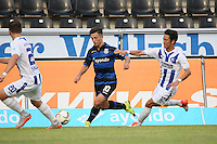 Besar Halimi (FSV) gegeYlli Sallahi und Hiroki Yamada (KSC) - FSV Frankfurt vs. Karlsruher SC, Frankfurter Volksbank Stadion