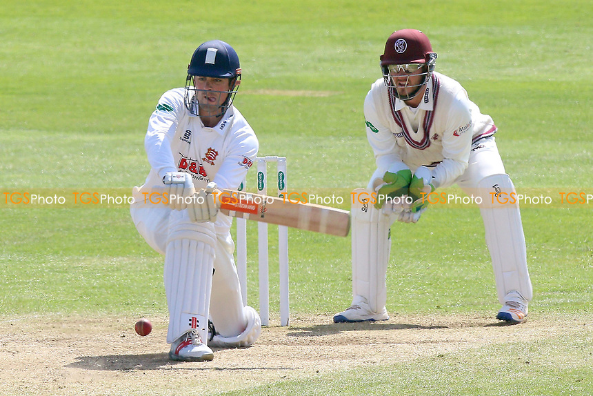 Alastair Cook in batting action for Essex as Steven Davies looks on from behind the stumps during Somerset CCC vs Essex CCC, Specsavers County Championship Division 1 Cricket at The Cooper Associates County Ground on 16th April 2017