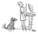 (A hungry dog brings its mistress a can opener)