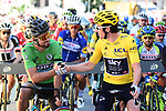 Green Jersey Peter Sagan (SVK) Bora-Hansgrohe congratulates new race leader Geraint Thomas (WAL) Team Sky Yellow Jersey before the start of Stage 12 of the 2018 Tour de France running 175.5km from Bourg-Saint-Maurice les Arcs to Alpe D'Huez, France. 19th July 2018. <br /> Picture: ASO/Alex Broadway | Cyclefile<br /> All photos usage must carry mandatory copyright credit (&copy; Cyclefile | ASO/Alex Broadway)
