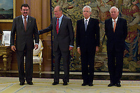 02.08.2012. Juan Carlos of Spain attends the audience with Mr. Mario Monti, President of the Council of Ministers of Italy, at the Palacio de la Zarzuela in Madrid. In the image Leonardo Visconti di Modrone, Italian Ambassador to Spain, King Juan Carlos I, Mario Monti and Jose Manuel Garcia-Margallo, Minister of Foreign Affairs of Spain. (Alterphotos/Marta Gonzalez) /NortePhoto.com<br />