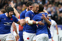 2nd February 2020, Stade de France, Paris; France, 6-Nations International rugby union, France versus England;  Try is scored by Vincent Rattez (France) celebrates with Gael Fickou (France) and Antoine Dupont (France)