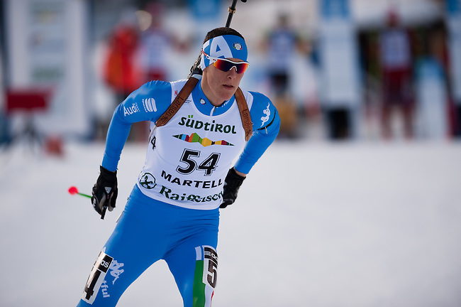 MARTELL-VAL MARTELLO, ITALY - FEBRUARY 03: ZINI Rudy (ITA) during the Men 12.5 km Pursuit at the IBU Cup Biathlon 6 on February 03, 2013 in Martell-Val Martello, Italy. (Photo by Dirk Markgraf)