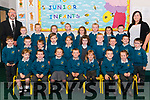 Class teacher Helena Dillane and Principal Diarmuid McCarthy with junior infants on their first day of school in Holy Family NS, Rathmore last Thursday.