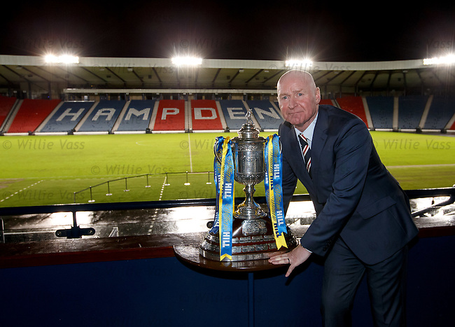 Rangers ambassador John Brown with the Scottish Cup
