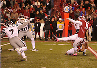 NWA Democrat-Gazette/MICHAEL WOODS • University of Arkansas kicker Cole Hedlund has his field goal attempt blocked by  Mississippi State defenders in the final seconds of the 4th quarter of Saturday nights game at Razorback Stadium November 21, 2015.