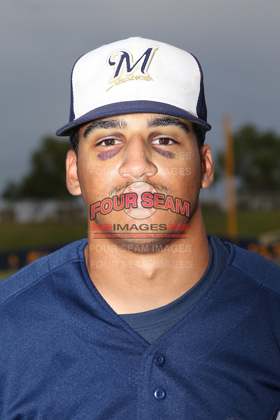 Trent Clark (2) of the AZL Brewers poses for a photo before a game against the AZL Athletics at Maryvale Baseball Park on June 30, 2015 in Phoenix, Arizona. Brewers defeated Athletics, 4-2. (Larry Goren/Four Seam Images)