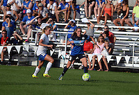Kansas City, MO - Sunday August 28, 2016: Louise Schillgard, Heather O'Reilly during a regular season National Women's Soccer League (NWSL) match between FC Kansas City and the Boston Breakers at Swope Soccer Village.
