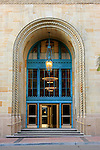 An architecturally beautiful entrance door to a large commercial building in San Diego California.