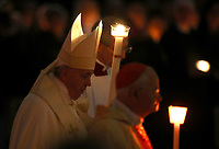 Pope Francis holds a candle as he arrives to celebrate a Mass for World Day for Consecrated Life in St. Peter's Basilica at the Vatican, on February 1, 2020.<br /> UPDATE IMAGES PRESS/Isabella Bonotto<br /> <br /> STRICTLY ONLY FOR EDITORIAL USE