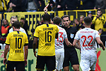 11.05.2019, Signal Iduna Park, Dortmund, GER, DFL, 1. BL, Borussia Dortmund vs Fortuna Duesseldorf, DFL regulations prohibit any use of photographs as image sequences and/or quasi-video<br /> <br /> im Bild Tobias Stieler (SR) (Schiedsrichter, referee), gibt Adam Bodzek (#13, Fortuna Duesseldorf) Rot / rot Karte <br /> <br /> Foto &copy; nordphoto/Mauelshagen