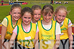 Gneeveguilla athletes Danielle Vaughan, Rita Casey, Katlyn OLeary, Caroline Dineen and Roisin Houston prepare for their race in the County Athletic Championships in Castleisland last Saturday. .