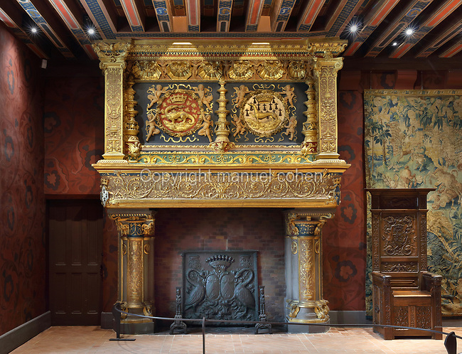 Fireplace with salamander and ermine, and royal throne, in the Salle du Roi, or King's Hall, used by Francois I for meals and audiences, on the first floor of the Francois I wing, built early 16th century in Italian Renaissance style, at the Chateau Royal de Blois, built 13th - 17th century in Blois in the Loire Valley, Loir-et-Cher, Centre, France. The hand-painted wallpaper, tiled floor and painted ceiling, were restored by Felix Duban in 1861-66. The chateau has 564 rooms and 75 staircases and is listed as a historic monument and UNESCO World Heritage Site. Picture by Manuel Cohen