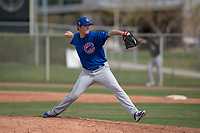 Chicago Cubs relief pitcher Preston Morrison (33) delivers a pitch to the plate during a Minor League Spring Training game against the Oakland Athletics at Sloan Park on March 13, 2018 in Mesa, Arizona. (Zachary Lucy/Four Seam Images)