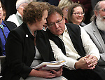Nevada Sen. Sheila Leslie, D-Reno, and retired Nevada state archivist Guy Rocha listen to testimony on Leslie's proposal to on Monday, Feb. 14, 2011 at the Legislature in Carson City, Nev. .Photo by Cathleen Allison