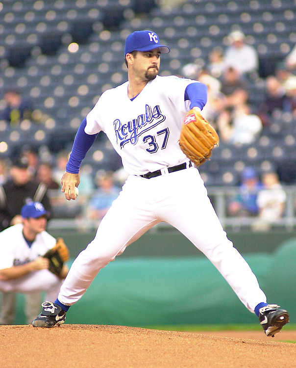 Royals right handed pitcher Jeff Suppan starts against the Tigers at Kauffman Stadium in Kansas City, Missouri on April 23, 2002. Detroit won 3-0.