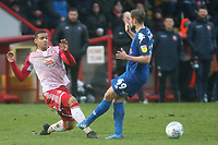 James Wilson of Salford City and Tom Soares of Stevenage during Stevenage vs Salford City, Sky Bet EFL League 2 Football at the Lamex Stadium on 15th February 2020