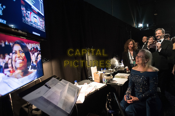 Meryl Streep, Oscar&reg; nominee, watches the show backstage during the live ABC Telecast of The 89th Oscars&reg; at the Dolby&reg; Theatre in Hollywood, CA on Sunday, February 26, 2017.<br /> *Editorial Use Only*<br /> CAP/PLF/AMPAS<br /> Supplied by Capital Pictures