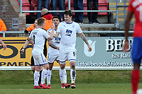 Andy Cook of Tranmere Rovers celebrates scoring the third goal during Dagenham & Redbridge vs Tranmere Rovers, Vanarama National League Football at the Chigwell Construction Stadium on 10th March 2018