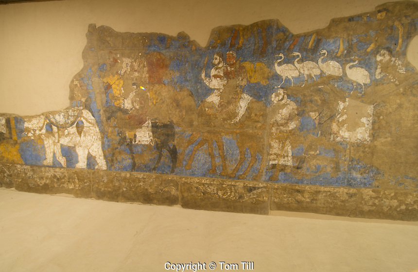 The Ambassadors' Painting, Samarkand, Uzbekistan. 7th Century, Afrasiab wall painting restored in museum.