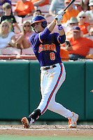 Third Baseman Richie Shaffer #8 swings at a pitch during a  game against the Miami Hurricanes at Doug Kingsmore Stadium on March 31, 2012 in Clemson, South Carolina. The Tigers won the game 3-1. (Tony Farlow/Four Seam Images).