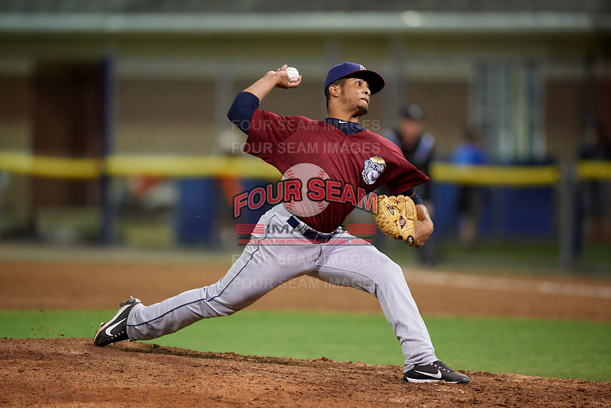 Mahoning Valley Scrappers relief pitcher Francisco Lopez (37) delivers a pitch during a game against the Batavia Muckdogs on August 30, 2017 at Dwyer Stadium in Batavia, New York.  Batavia defeated Mahoning Valley 5-1.  (Mike Janes/Four Seam Images)