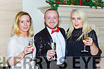 Shauna O'Connor, Jack Healy and Lorraine O'Connor getting in the festive spirit at the fashion show in the Hotel Europe on Thursday night