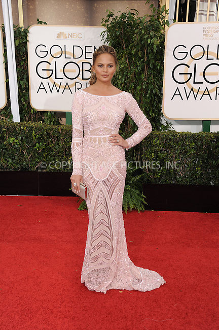 WWW.ACEPIXS.COM<br /> <br /> January 11 2015, LA<br /> <br /> Model Chrissy Teigen arriving at the 72nd Annual Golden Globe Awards at The Beverly Hilton Hotel on January 11, 2015 in Beverly Hills, California<br /> <br /> By Line: Peter West/ACE Pictures<br /> <br /> <br /> ACE Pictures, Inc.<br /> tel: 646 769 0430<br /> Email: info@acepixs.com<br /> www.acepixs.com