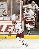 Jessica Martino (BC - 26), Laura Hart (BC - 27), Kiera Kingston (BC - 32), Katie King (BC - Head Coach) - The Boston College Eagles and the visiting University of New Hampshire Wildcats played to a scoreless tie in BC's senior game on Saturday, February 19, 2011, at Conte Forum in Chestnut Hill, Massachusetts.