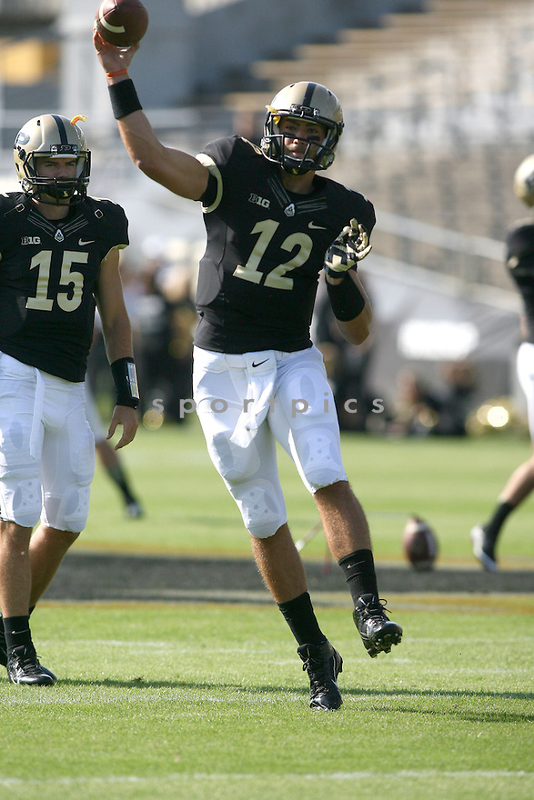 Purdue Boilermakers Austin Appleby (12) during a game against the Northern Illinois Huskies on September 28, 2013 at Ross-Ade Stadium in West Lafayette, IN. NIU beat Purdue 55-24.